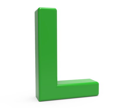 l background: left leaning 3d rendering green letter L isolated white background