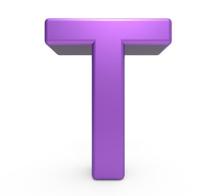 single word: 3d rendering purple letter T isolated white background