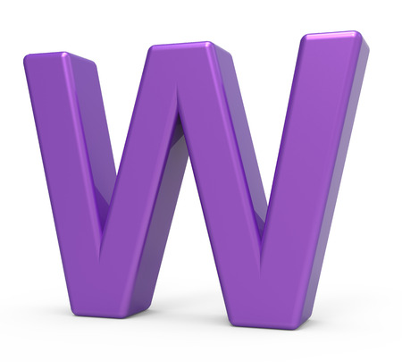 single word: right leaning 3d rendering purple letter W isolated white background