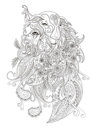 stress relief: Fantastic adult coloring page, combination of sheep and dog or wolf, decorative floral element, stress relief page for coloring Illustration