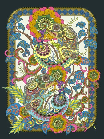 inner peace: Chameleon adult coloring page, lovely chameleon buddies on plants