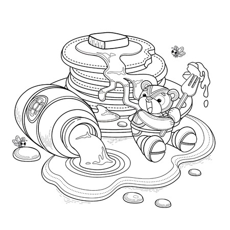 Lovely bear adult coloring page, little bear enjoying sweet honey pancake with fork. Honey drill from glass jar.