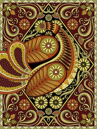 inner peace: Splendid adult coloring page, elegant peacock is showing off its feather, autumn color tone, floral and geometric elements
