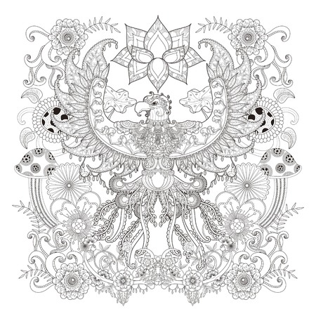 inner peace: Majestic eagle adult coloring page, open wings eagle with floral elements decoration, stress relief page for coloring