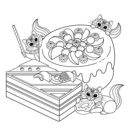 contorno: Colorear pasteles adulto, deliciosos aperitivos página para colorear. Pequeña ardilla o un gato están disfrutando de la tarde. Vectores