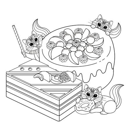 black outline: Pastries adult coloring page, delicious snacks page for coloring. Little squirrel or cat are enjoying afternoon.