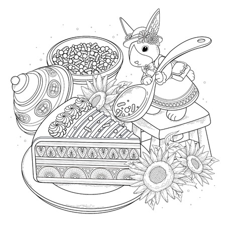 black outline: Pastries adult coloring page, delicious snacks page for coloring. Elegant rabbit adding sugar on the cake.