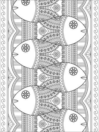 Belle Coloriage adulte, poissons mignons avec des motifs géométriques dans un tableau, Coloriage soulagement du stress Banque d'images - 64893305