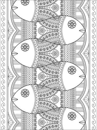 drawing: Lovely adult coloring page, cute fish with geometric patterns in an array, stress relief coloring page Illustration