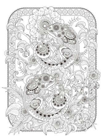 stress relief: Chameleon adult coloring page, lovely chameleon buddies on plants, stress relief page for coloring