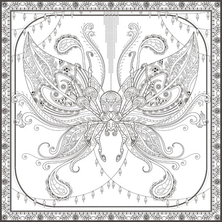stress relief: Insect adult coloring page, decorative fantastic insect, butterfly or spider. Stress relief page for coloring