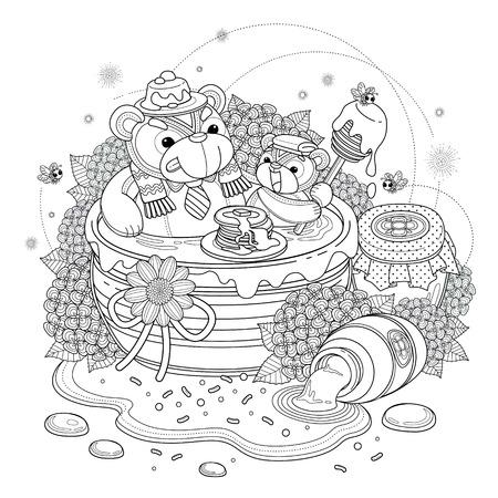 dessin au trait: Belle ours Coloriage adultes, porte profitant éléments jar miel doux, hortensias et de miel Illustration