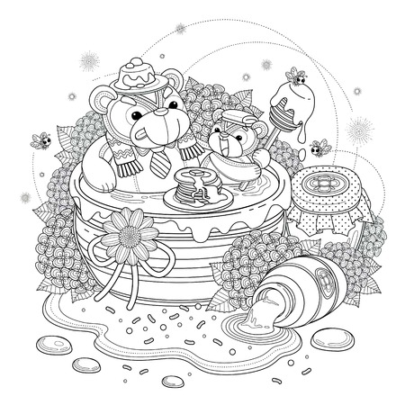 black outline: Lovely bear adult coloring page, bears enjoying sweet honey, hydrangea and honey jar elements