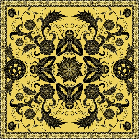 inner peace: Retro insect adult coloring page, decorative insects with floral elements, golden and black tone