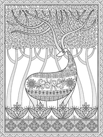 stress relief: Elegant adult coloring page, deer with big antlers in woodland, beautiful and mysterious forest, stress relief coloring page for you