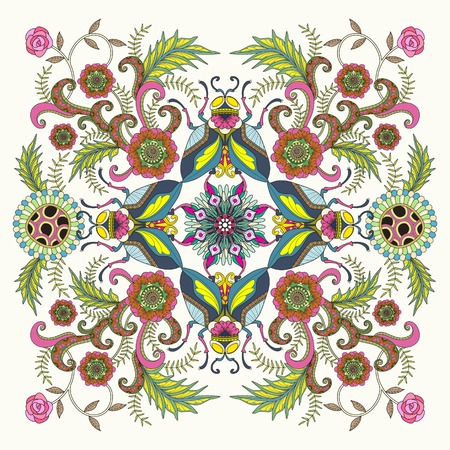 inner peace: Retro insect adult coloring page, decorative insects with floral elements