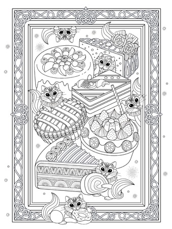 Pastries adult coloring page, delicious snacks page for coloring. Little squirrel or cat are enjoying afternoon.