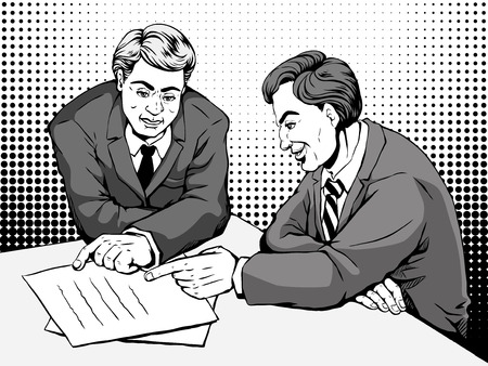 two men: retro two men merrily discussing something together, comic book style speech bubble, pop art, black and white