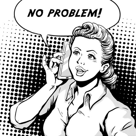 woman cell phone: retro woman smiling speaking on cell phone and says no problem, comic book style speech bubble, pop art, black and white