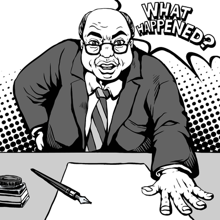 old style retro: retro old bosslike man with a shocked face and asked what happened, comic book style speech bubble, pop art, black and white