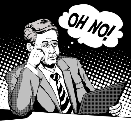 retro man with a helpless face and looks at his pad, comic book style speech bubble, pop art, black and white