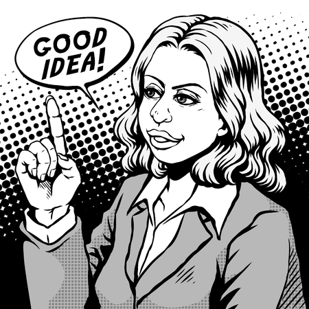 retro woman pointing to the ceiling and says good idea, comic book style speech bubble, pop art, black and white Illustration