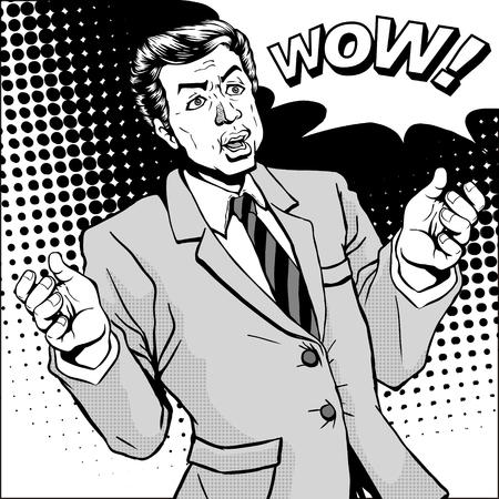Retro uomo accigliato con entrambe le mani in aria e sospiri wow, bolla stile fumetto discorso, pop art, in bianco e nero