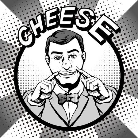 Retro bärtiger Mann mit einem lächelnden Gesicht und sagt Käse beim Fotografieren, Comic-Buch-Stil Sprechblase, Pop-Art, schwarz und weiß Standard-Bild - 66604976