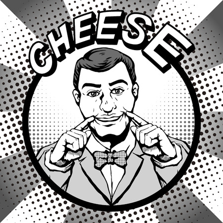 unable: retro bearded man with a smiling face and says cheese while taking photos, comic book style speech bubble, pop art, black and white Illustration