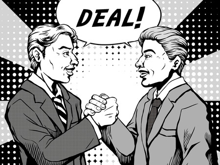 two men talking: retro two men agree to make a deal and shaked hands with each other, comic book style speech bubble, pop art, black and white