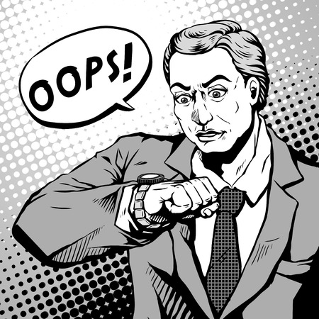 late 50s: retro young man with a shocked face and looks at his watch, comic book style speech bubble, pop art, black and white