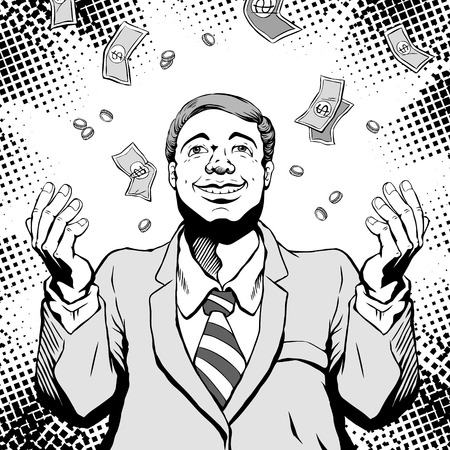 retro man smiling with a greedy face and dream about having much money, comic book style speech bubble, pop art, black and white 版權商用圖片 - 66617058