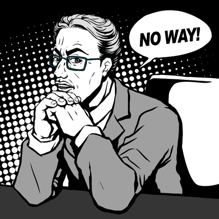 retro man with a sorrowful face and says no way, comic book style speech bubble, pop art, black and white