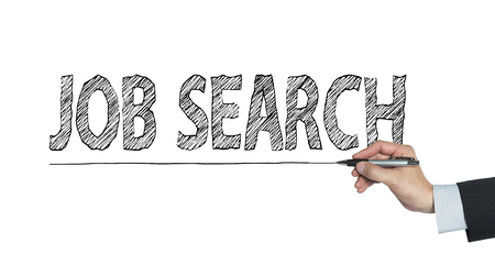 hand job: job search written by hand, hand writing on transparent board, photo Stock Photo