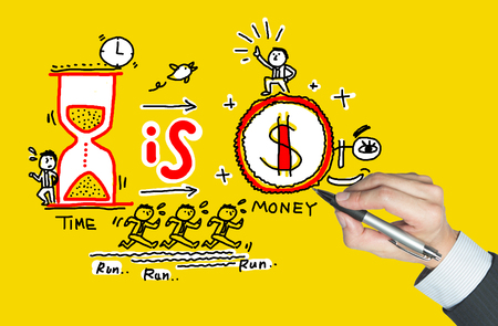 cogitation: hourglass and coin written by hand, means that time is money