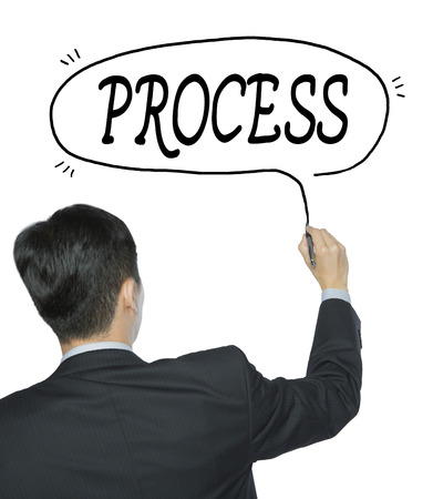 sop: process written by businessman in black suit, hand writing on transparent board, photo Stock Photo