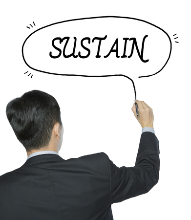 sustain: sustain written by businessman in black suit, hand writing on transparent board, photo