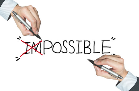insist: impossible written by hand, with the first two alphabets cancelled