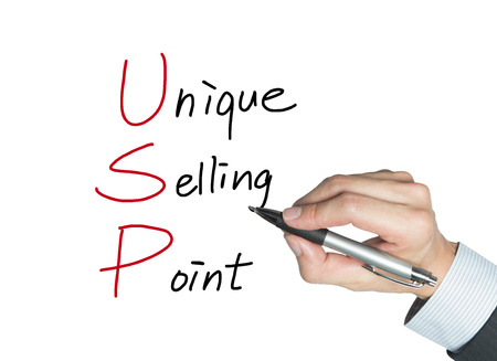 conspicuous: unique selling point drawn by hand, isolated background