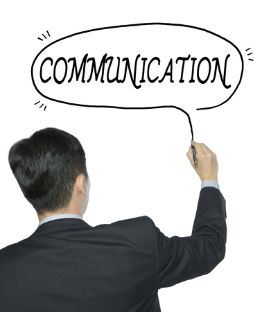 written communication: communication  written by businessman in black suit, hand writing on transparent board, photo