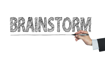 brainstorm written by hand, hand writing on transparent board, photo