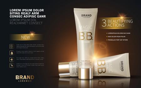 BB crema annunci, modello di tubo di trucco con effetto scintillante. Illustrazione 3D. Vettoriali