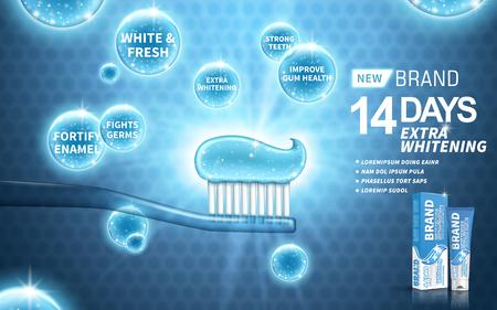 whitening tandpasta advertentie, op een blauwe achtergrond, 3d illustratie