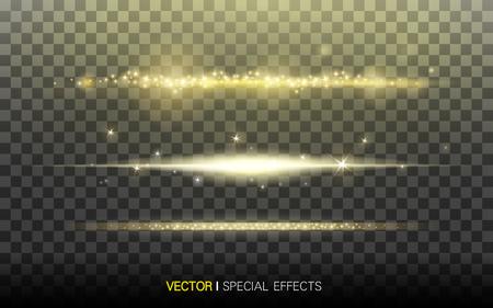 strisce di luce dorata, su sfondo trasparente, illustrazione 3D Vettoriali