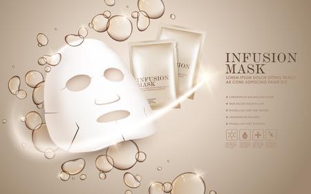광고 나 잡지 페이셜 마스크 광고 템플릿, 얼굴 마스크 및 패키지 모형. 배경에 투명한 액체 물방울. 3D 그림.