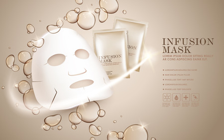 moisturizing: Facial mask ads template, face mask and package mockup for ads or magazine. Transparent liquid drip on background. 3D illustration.
