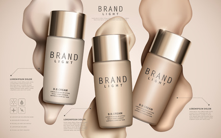 Foundation ads template, makeup mockup for ads or magazine liquid foundation background. 3D illustration. Иллюстрация
