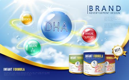 Infant formula advertisement, with nutrition listed, blue background, 3D illustration
