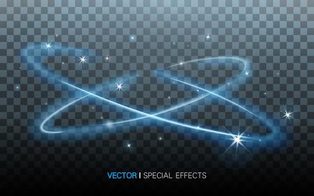 efectos especiales: luces que rodean azules con hermosas refracciones en el fondo transparente, ilustración 3D