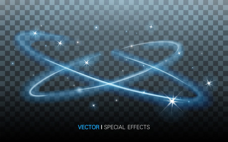 blue surrounding lights with beautiful refractions on transparent background, 3D illustration